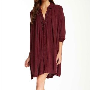 Free People Spin Me Shirt Dress SZ L Rust